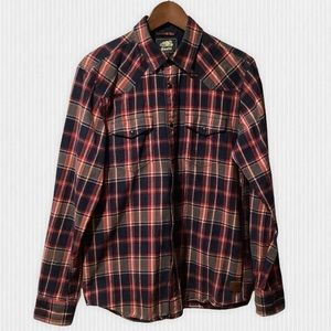 Roots Red Navy Plaid Cotton Flannel Shirt S